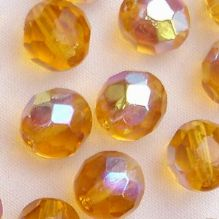 8mm Fire Polished Medium Topaz AB - 25